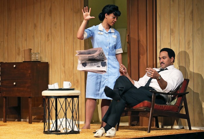 "Beryl Bain and E.B. Smith in Katori Hall's ""The Mountaintop"". Photo by Claus Andersen."