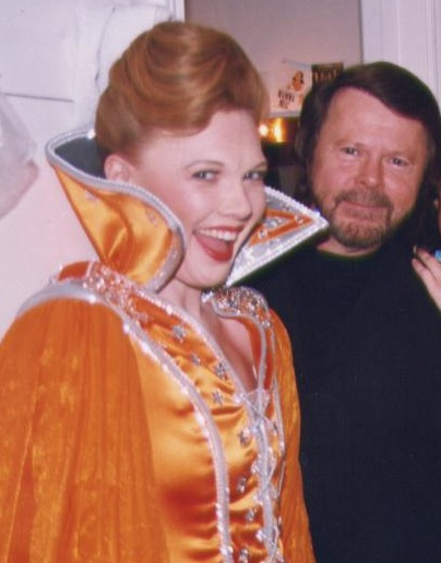 "Tamara Bernier Evans with ABBA's Bjorn Ulvaeus after a performance of ""Mama Mia!"""