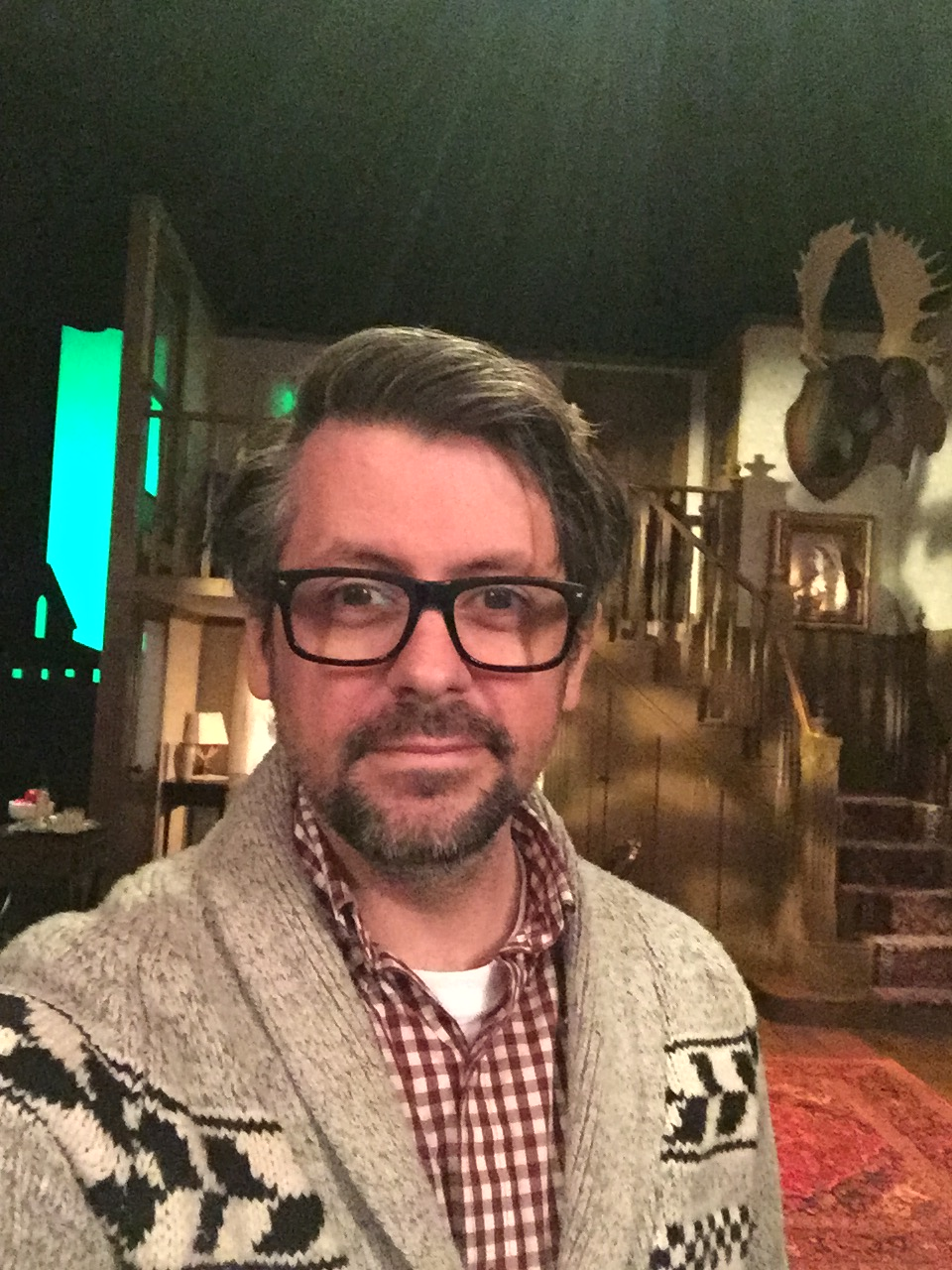 "Kevin Woolridge on the set of the National Arts Centre's touring production of Tartuffe, on which he served as ""Assistant Director"""