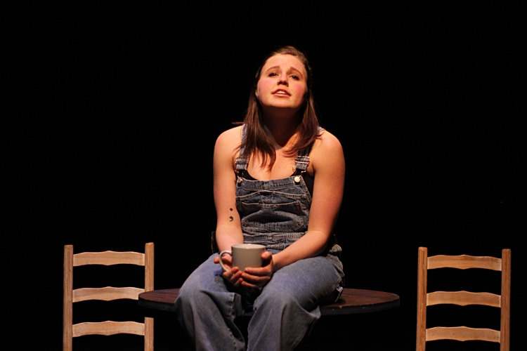 Sadie Epstein-Fine in her play To the Moon at Buddies in Bad Times, which she wrote and performed about having two moms.