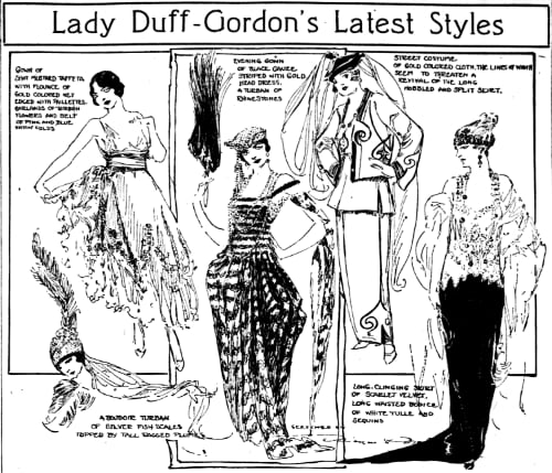 Lady Duff-Gordon't Latest Styles, as presented in a vaudeville circuit pantomime and sketched by Marguerite Martyn of the St. Louis Post-Dispatch in April 1918