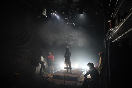 Dress rehearsal of Swan (2016) written and directed by Aaron Jan, produced by Little Black Afro Theatre in Association with Filament Incubator (Photo: Cesar Ghisilieri)