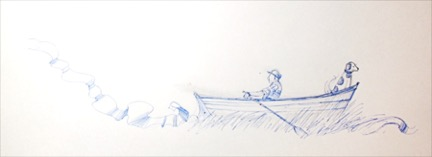 float: sketch for Man in Dory (one of over 50 sketches for the project). Design by Shawn Kerwin.