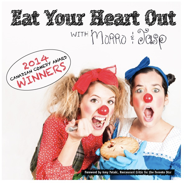"""The cookbook cover for """"Eat Your Heart Out with Morro & Jasp"""""""